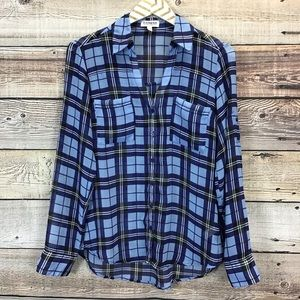 Express Small Button Front Blouse Blue Plaid